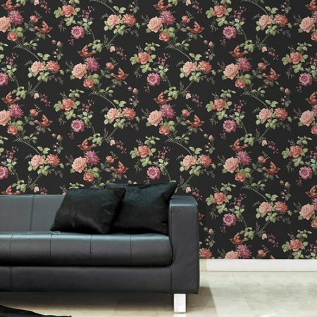 Graham & Brown Black Oriental Floral Wallpaper