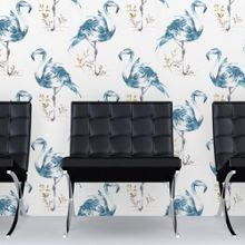Graham & Brown Blue Flamingo Print Wallpaper