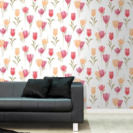Graham & Brown Yellow and Red Tulips Floral Wallpaper
