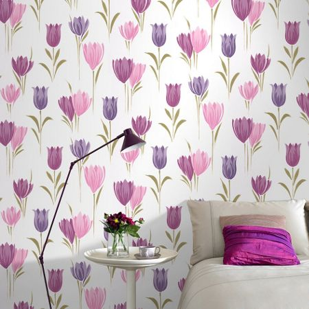 Graham & Brown Pink and Violet Tulips Wallpaper