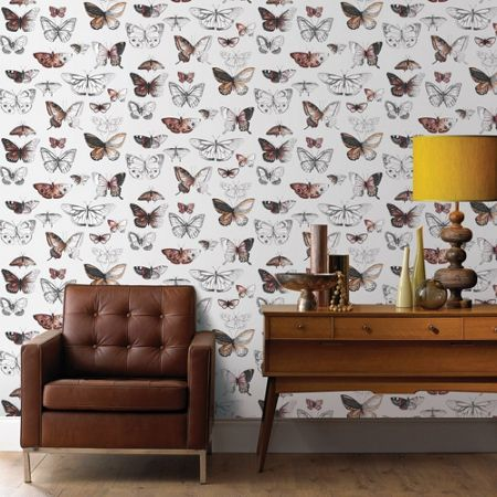 Graham & Brown Orange Butterflies Printed Wallpaper