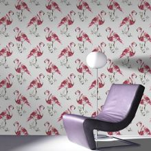 Graham & Brown Red Pink Flamingo Animal Printed Wallpaper