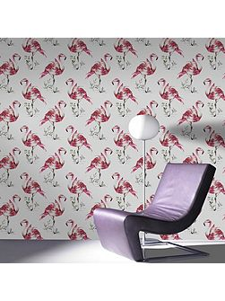 Red Pink Flamingo Animal Printed Wallpaper
