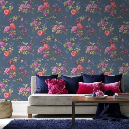 Graham & Brown Blue Oriental Floral Wallpaper