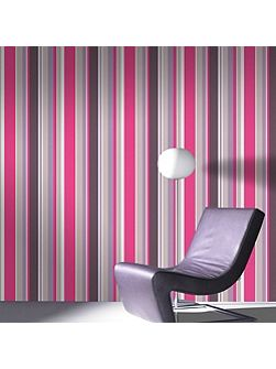 Pink Rico Striped Wallpaper