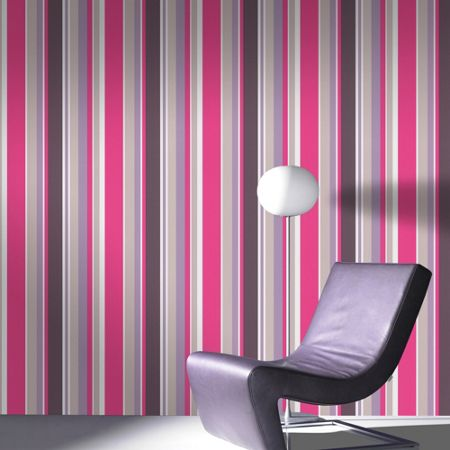 Graham & Brown Pink Rico Striped Wallpaper