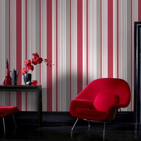 Graham & Brown Red Rico Striped Wallpaper