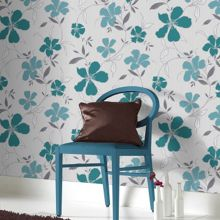 Graham & Brown Teal / Silver Rapture Wallpaper