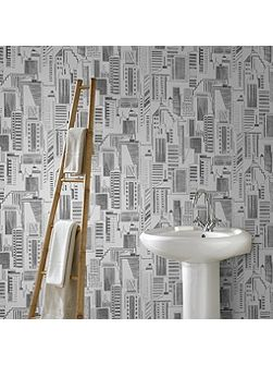 Black Cityscape Bathroom and Kitchen Wallpaper
