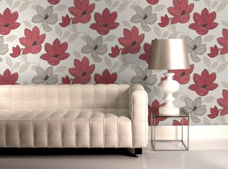 Graham & Brown Red Superflora Wallpaper