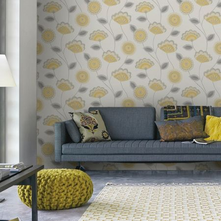 Graham & Brown Yellow Romany Wallpaper