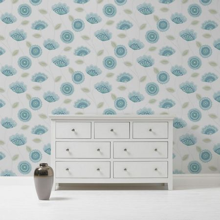 Graham & Brown Teal Romany Wallpaper