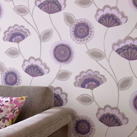 Graham & Brown Purple Romany Wallpaper