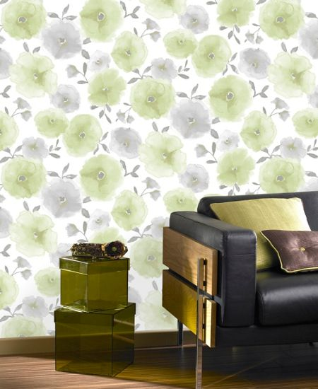 Graham & Brown Green Poppies Wallpaper