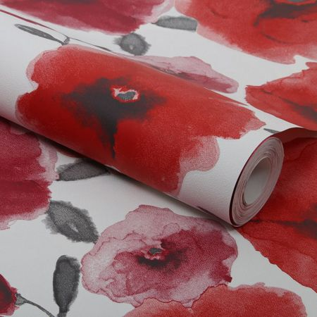 Graham & Brown Red Poppies Wallpaper
