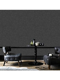 Charcoal Jacquard Floral Wallpaper