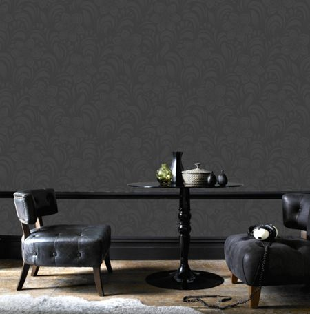 Graham & Brown Charcoal Jacquard Floral Wallpaper