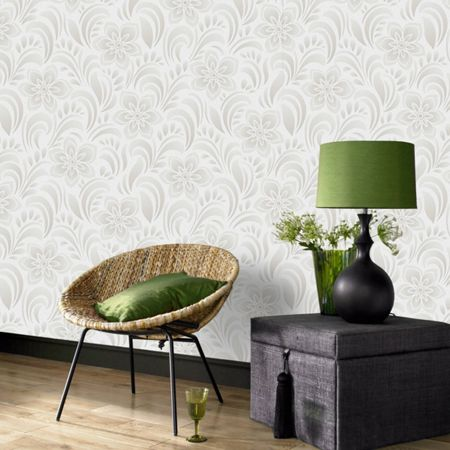 Graham & Brown Biscuit Jacquard Floral Wallpaper