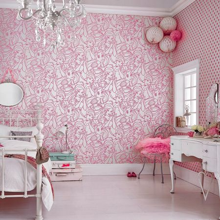 Graham & Brown Pink Disney Princess Flock Wallpaper