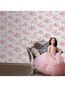 Pink Disney Princess Toile Wallpaper