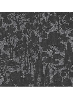 Black Tranquil Woodland Scene Wallpaper