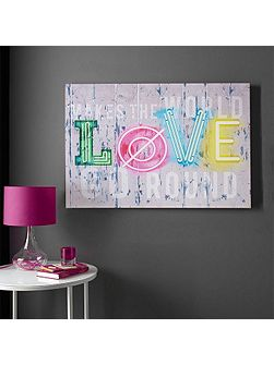 Graham & Brown Neon Love Canvas Wallart
