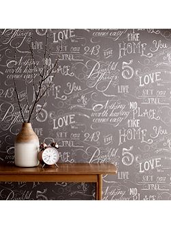 Grey Chalk Board Script Wallpaper