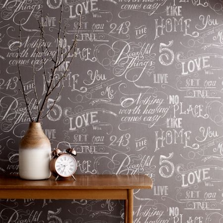 Graham & Brown Grey Chalk Board Script Wallpaper