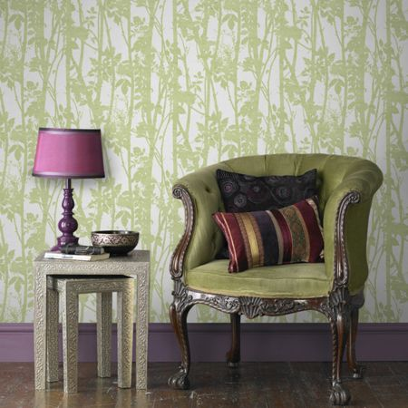 Graham & Brown Green Fabric Printed Branches Wallpaper