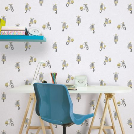 Graham & Brown Mustard Yellow Scooter Patterned Wallpaper