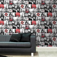Graham & Brown Red & White London Montage Printed Wallpaper