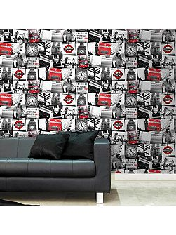 Red & White London Montage Printed Wallpaper