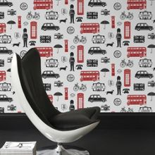 Graham & Brown Red & Black London Bus Printed Wallpaper