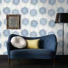 Graham & Brown Blue Stria Floral Duck Egg Wallpaper