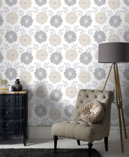 Graham & Brown Cream Stria Floral Wallpaper