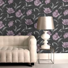 Graham & Brown Black & Violet Watercolour Floral Lilac Wallpaper