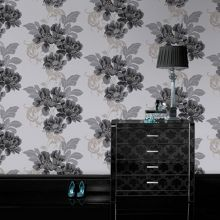 Graham & Brown Black / White Cascada Black/White Wallpaper