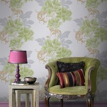 Graham & Brown Green Cascada Wallpaper