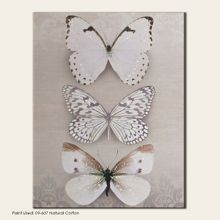 Beige butterfly trio canvas wallart