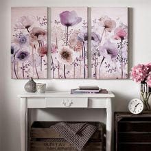 Graham & Brown Purple classic poppy trio canvas wallart