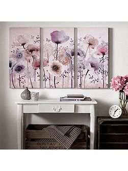 Purple classic poppy trio canvas wallart
