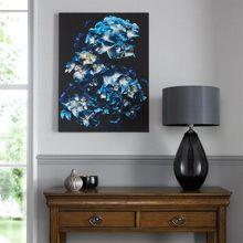 Blooms in blue canvas wallart