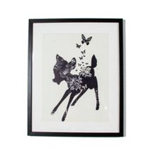 White bambi pattern fill framed print
