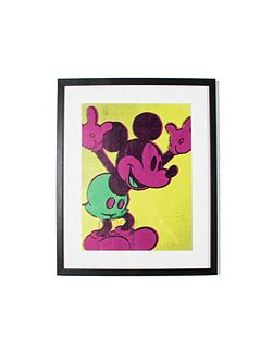 Neon Mickey Mouse Framed Print