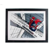 Red spiderman sketch framed print