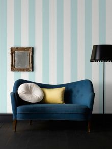 Graham & Brown Duck Egg Calico Stripe Wallpaper