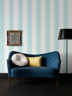 Duck Egg Calico Stripe Wallpaper