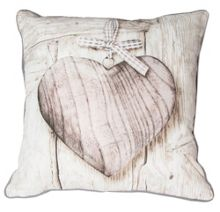 Neutral wooden heart cushion