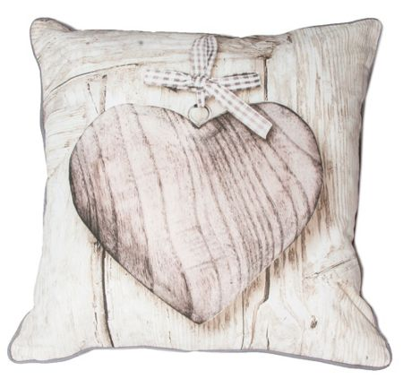 Graham & Brown Neutral wooden heart cushion