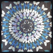 Blue flock of butterflies framed art